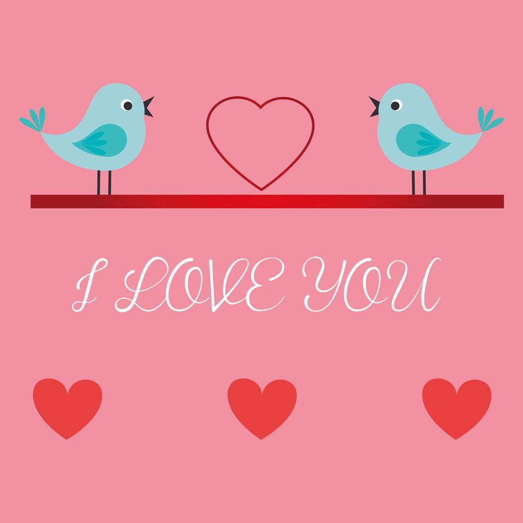 Cartoon Valentine Greeting Bird Image