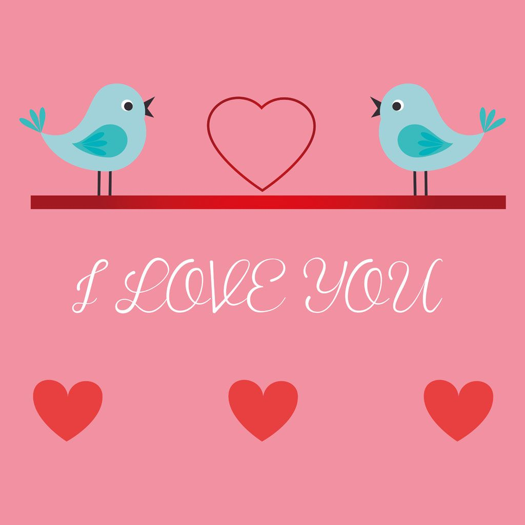 Cartoon Valentine Greeting Bird Image