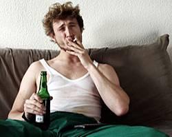 man Smoke in sofa